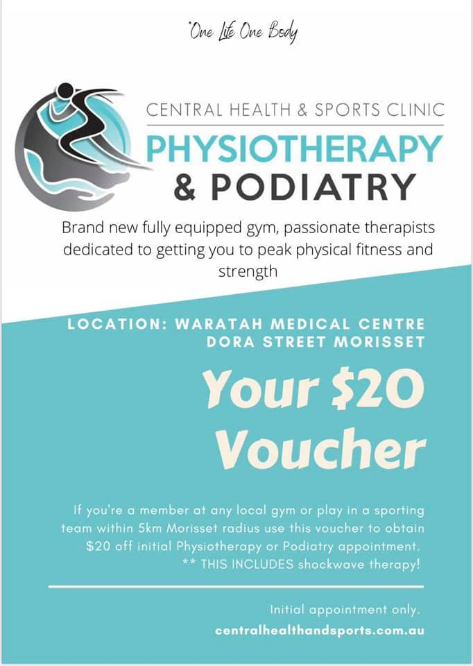 get $20 off your initial appointment Central Health and Sports